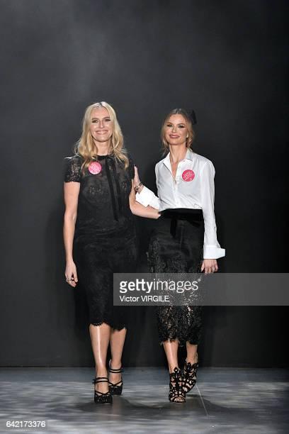 Keren Craig and Georgina Chapman walk the runway at the Marchesa Ready to Wear Fall Winter 20172018 fashion show during New York Fashion Week on...