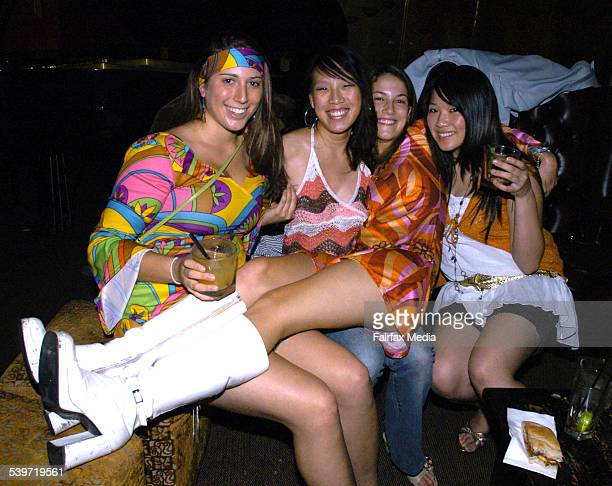 Keren Port Rebecca Tham Catherine Ridha and Julianne Lo at the Max Brenner 1970s party Cherrijam Double Bay 11 January 2006 SHD NEWS Picture by JANIE...