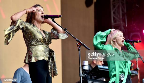 Keren Woodward and Sara Dallin of Bananarama perform during Manchester Pride 2019 on August 25 2019 in Manchester England