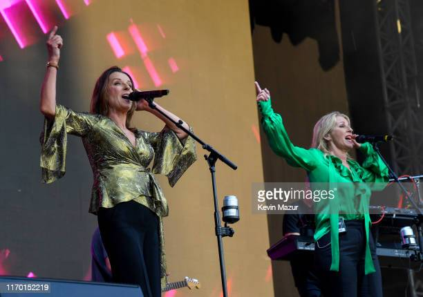 Keren Woodward and Sara Dallin of Bananarama perform on stage during Manchester Pride Live 2019 at the Mayfield Depot on August 25 2019 in Manchester...