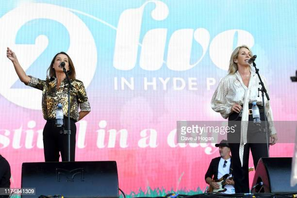 Keren Woodward and Sara Dallin of Bananarama perform on stage during BBC2 Radio Live 2019 at Hyde Park on September 15 2019 in London England