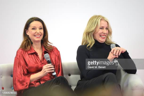 Keren Woodward and Sara Dallin of Bananarama speak at RuPaul's DragCon UK presented by World Of Wonder at Olympia London on January 19 2020 in London...