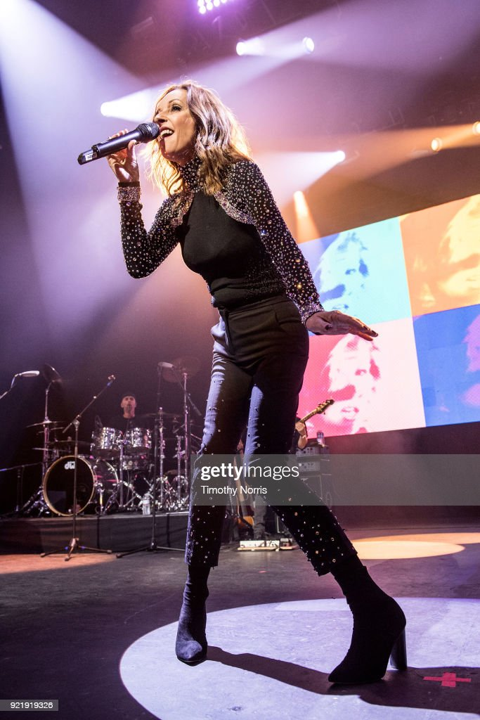 Keren Woodward of Bananarama performs at The Novo by Microsoft on February 20, 2018 in Los Angeles, California.