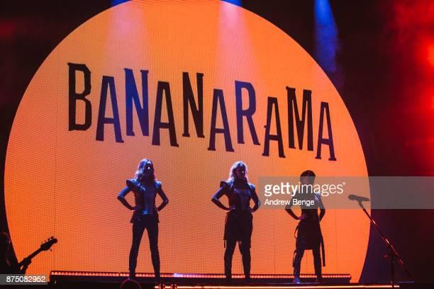 Keren Woodward Sara Dallin and Siobhan Fahey of Bananarama perform at York Barbican on November 16 2017 in York England