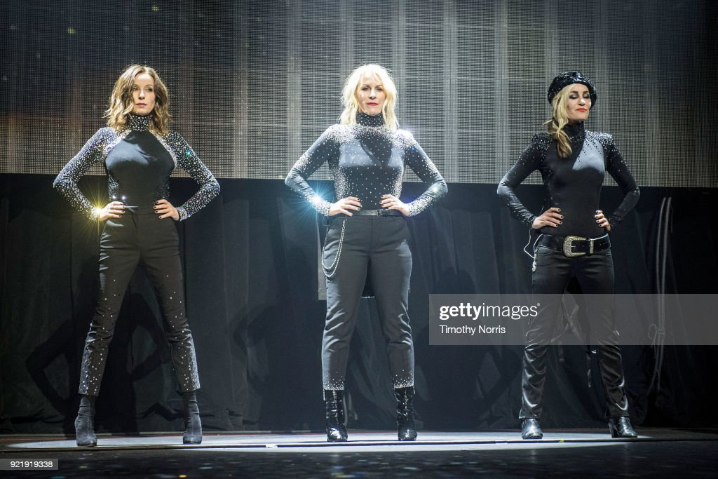 Keren Woodward, Sara Dallin and Siobhan Fahey of Bananarama perform at The Novo by Microsoft on February 20, 2018 in Los Angeles, California.