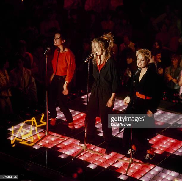 Keren Woodward Sara Dallin and Siobhan Fahey of Bananarama perform on stage in 1984