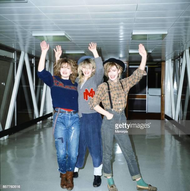 Keren Woodward Sarah Dallin and Siobhan Fahey of Bananarama at Heathrow Airport to go to Los Angeles 17th March 1983