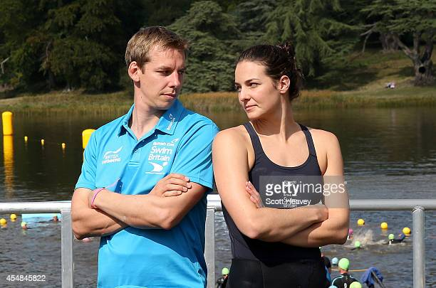 Keri Anne Payne and her husband David Carry during the British Gas SwimBritain event at Blenheim Palace on September 7 2014 in Woodstock England