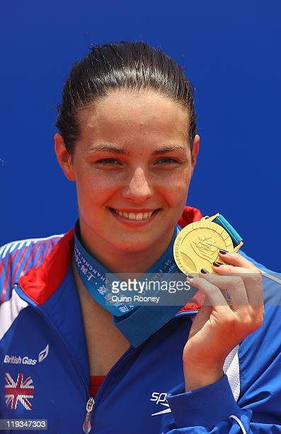 Keri Anne Payne of Great Britain celebrates winning the gold medal at the Women's Open Water 10km during Day Four of the 14th FINA World...
