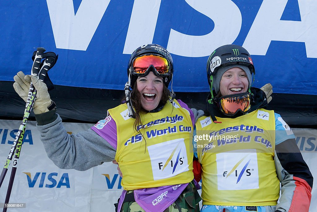 Keri Herman and James Woods of Great Britain stand on the podium after being given the World Cup points leader jerseys after the FIS Freestyle Ski World Cup slope style final at the U.S. Grand Prix on January 12, 2013 in Copper Mountain, Colorado.