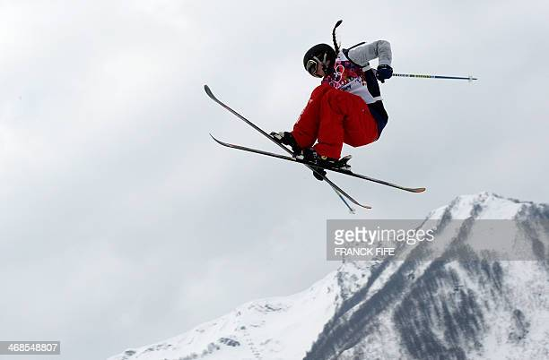 US Keri Herman competes in the Women's Freestyle Skiing Slopestyle qualification at the Rosa Khutor Extreme Park during the Sochi Winter Olympics on...