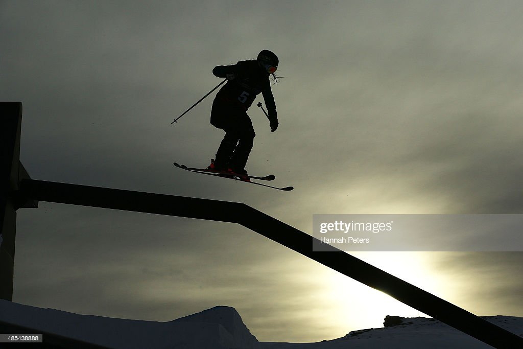Keri Herman of the United States competes in the FIS Freestyle Ski World Cup Slopestyle Finals during the Winter Games NZ at Cardrona Alpine Resort on August 28, 2015 in Wanaka, New Zealand.