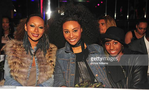 Keri Hilson Cynthia Bailey and Noelle Ronson attend the Akoo 2012 fashion presentation on February 2 2012 in Atlanta Georgia