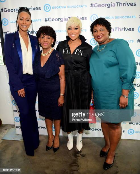 Keri Hilson Maxine Waters Monica and Stacey Abrams attend a celebration of women for Abrams at The Gathering Spot on September 22 2018 in Atlanta...