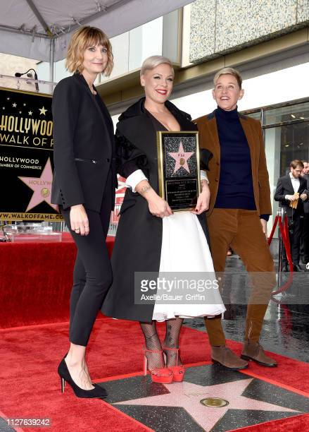 Keri KenneySilver Pink and Ellen DeGeneres attend the ceremony honoring Pink with Star on the Hollywood Walk of Fame on February 05 2019 in Hollywood...
