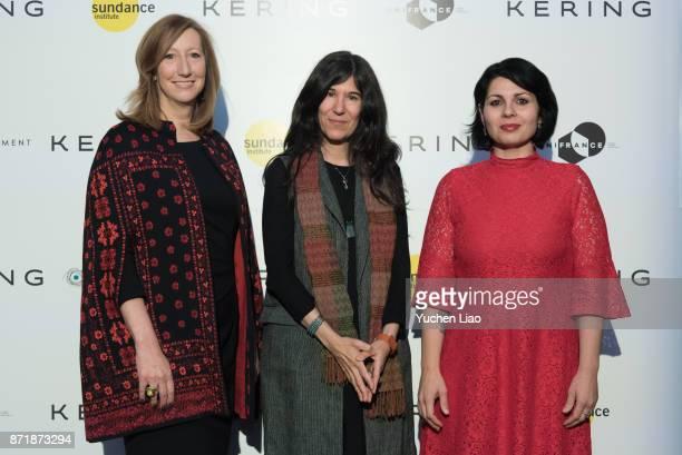 Keri Putman Debra Granik and Maysaloun Hamoud attend Kering Presents Women In Motion A Special Screening of 'In Between' at Crosby Street Hotel on...
