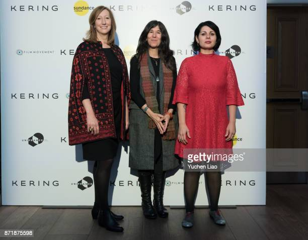 Keri Putman Debra Granik and Maysaloun Hamoud attend Kering Presents Women In Motion A Special Screening of 'In Between' at Crosby Street Hotel on...