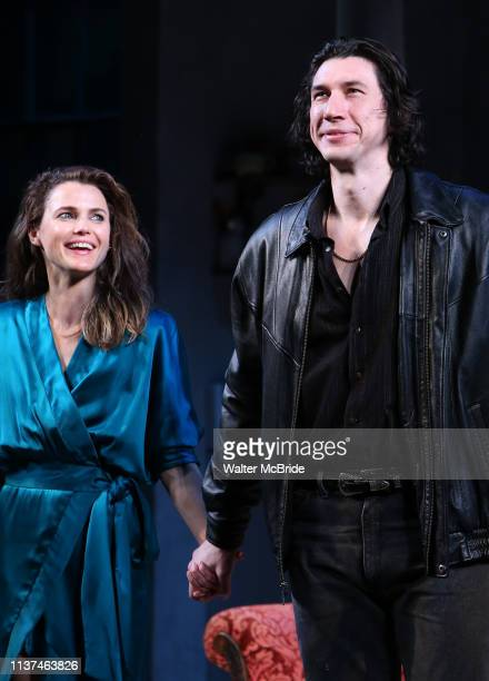 Keri Russell and Adam Driver during the Broadway Opening Night Curtain Call for Landford Wilson's Burn This at Hudson Theatre on April 15 2019 in New...