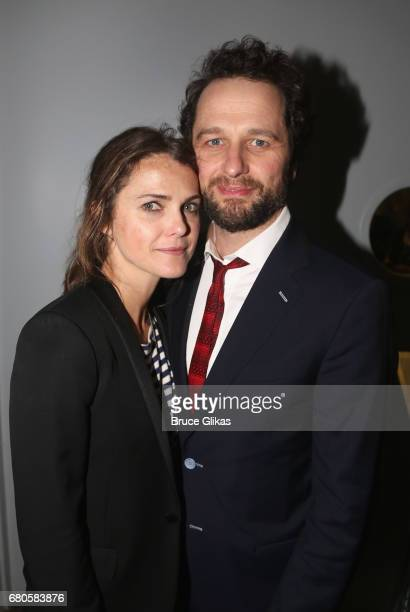 Keri Russell and boyfriend Matthew Rhys pose at An American Daughter Benefit Reading at The Tony Kiser Second Stage Theatre on May 8 2017 in New York...