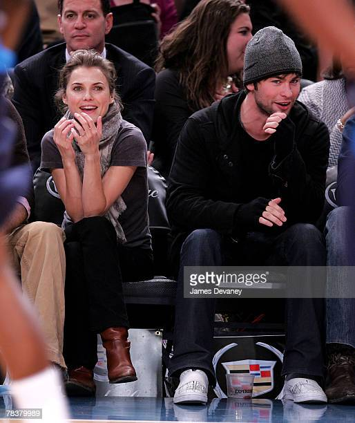 Keri Russell and Chace Crawford attend Dallas Mavericks vs New York Knicks game at Madison Square Garden on December 10 2007 in New York City New York