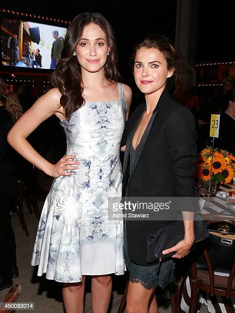 Keri Russell and Emmy Rossum attend the Sundance Institute Vanguard Leadership Award honoring Glenn Close at Stage 37 on June 4 2014 in New York City