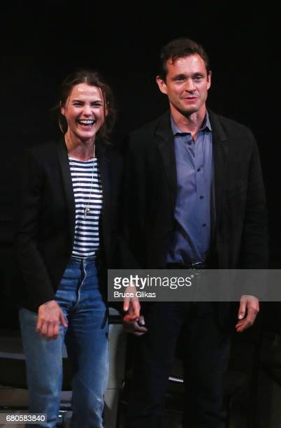 Keri Russell and Hugh Dancy at the curtain call for An American Daughter Benefit Reading at The Tony Kiser Second Stage Theatre on May 8 2017 in New...