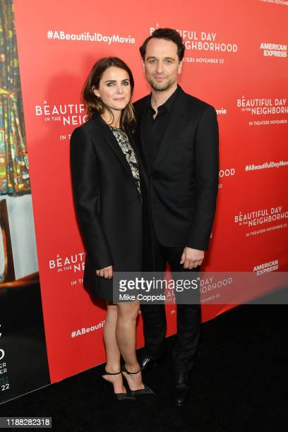 Keri Russell and Matthew Rhys attend A Beautiful Day In The Neighborhood New York Screening at Henry R Luce Auditorium at Brookfield Place on...