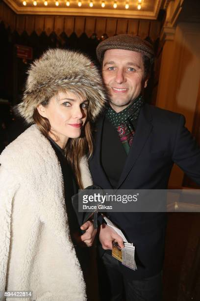 Keri Russell and Matthew Rhys pose at the opening night of 'Farinelli and The King' on Broadway at The Belasco Theatre on December 17 2017 in New...