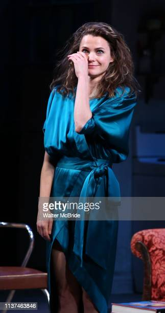 Keri Russell during the Broadway Opening Night Curtain Call for Landford Wilson's Burn This at Hudson Theatre on April 15 2019 in New York City