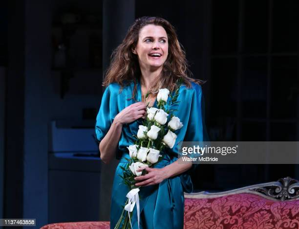 "Keri Russell during the Broadway Opening Night Curtain Call for Landford Wilson's ""Burn This"" at Hudson Theatre on April 15, 2019 in New York City."