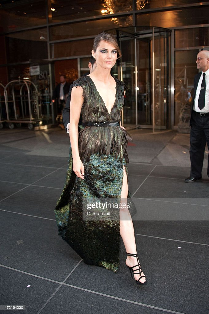 Keri Russell is seen departing the Mandarin Oriental hotel on May 4, 2015 in New York City.
