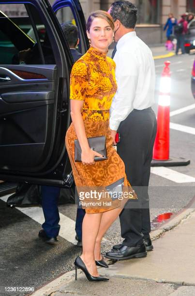 """Keri Russell is seen outside """"Good Morning America"""" on October 25, 2021 in New York City."""