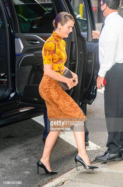 """Keri Russell is seen outside of """"Good Morning America"""" on October 25, 2021 in New York City."""