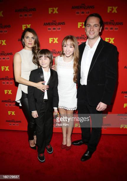 Keri Russell Keidrich Sellati Holly Taylor and Matthew Rhys attend FX's 'The Americans' season one premiere at DGA Theater on January 26 2013 in New...