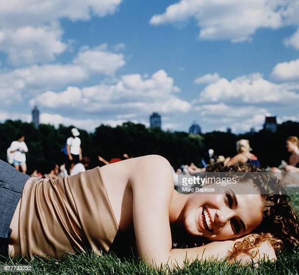 Keri Russell Lying on Grass