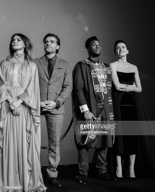 Keri Russell Oscar Isaac John Boyega and Daisy Ridley attend the European premiere of Star Wars The Rise of Skywalker at Cineworld Leicester Square...