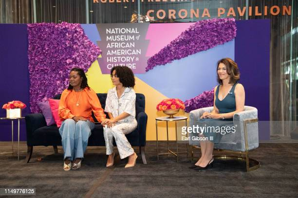 Keri Shahidi Yara Shahidi and Fredricka Whitfield speak onstage at the 2019 Women's E3 Summit at National Museum Of African American History Culture...