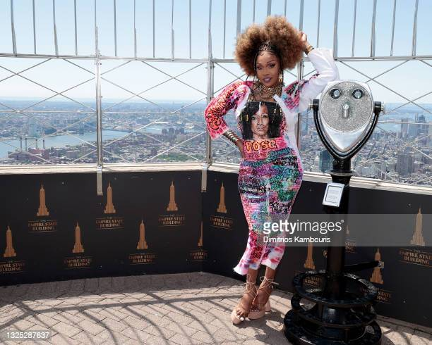 """Keria C. Davenport attends as Empire State Building hosts the cast of """"RuPaul's Drag Race All Stars"""" Season 6 on June 24, 2021 in New York City."""