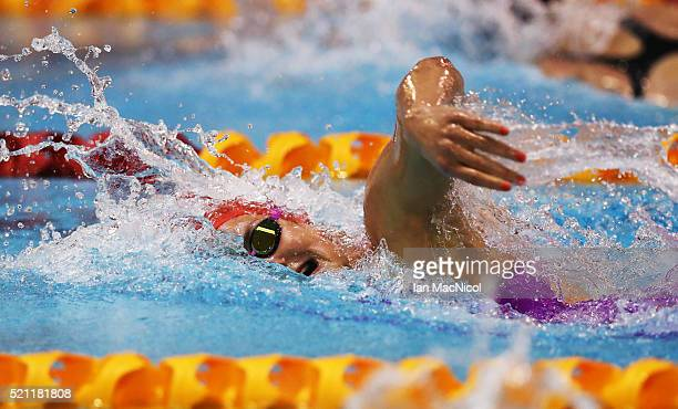 KeriAnne Payne competes in the final of the Women's 800m Freestyle during Day Three of The British Swimming Championships at Tollcross International...
