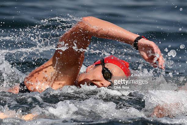 KeriAnne Payne of Great Britain competes in the Women's 10km Marathon Swimming on day 10 of the Rio 2016 Olympic Games at Fort Copacabana on August...
