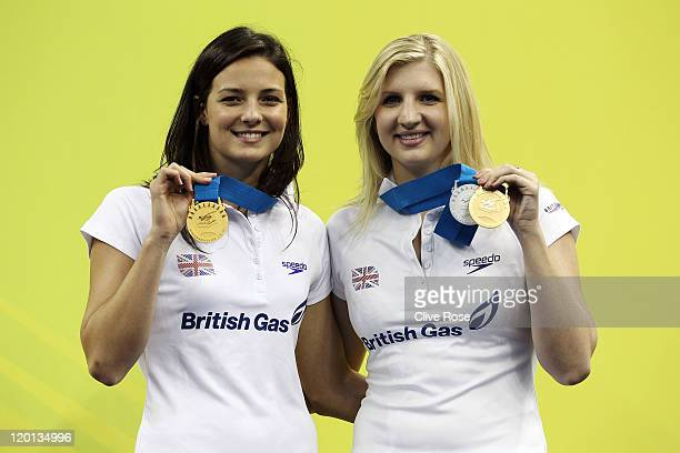 KeriAnne Payne of Great Britain gold medalist in the Women's Open Water 10km poses with team mate Rebecca Adlington gold and silver medalist in the...