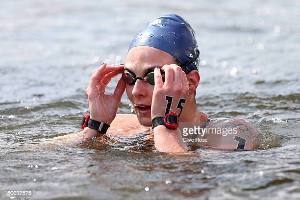 KeriAnne Payne of Great Britain looks on after finishing fourth in the Women's Marathon 10km Swimming at Hyde Park on August 9 2012 in London England