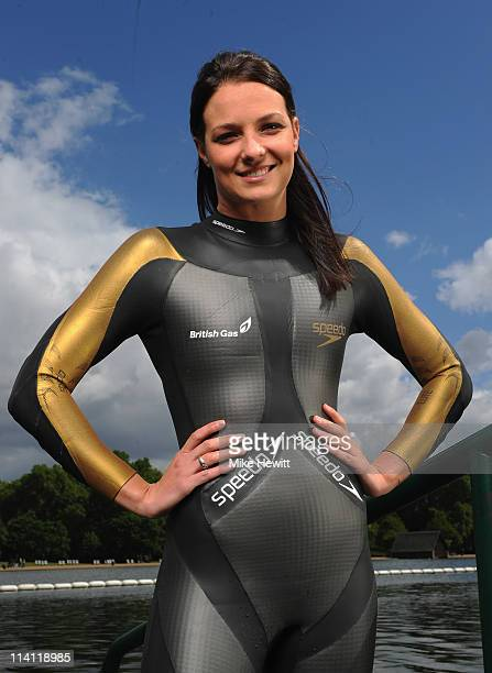 KeriAnne Payne of Great Britain poses for pictures during the British Gas Great Swim Series media day at the Serpentine Lido on 12 May 2011 in London...