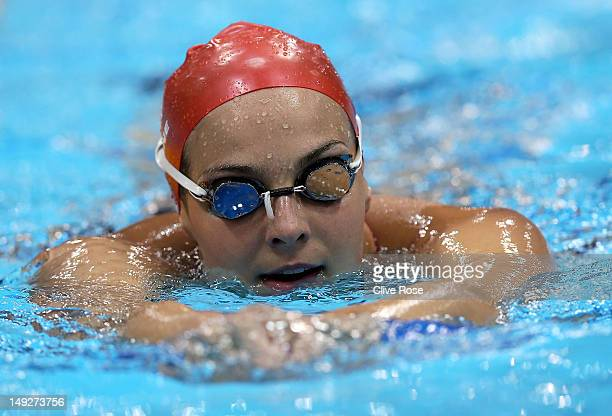 KeriAnne Payne of Great Britain swims during a training session ahead of the London Olympic Games at the Aquatics Centre in Olympic Park on July 26...