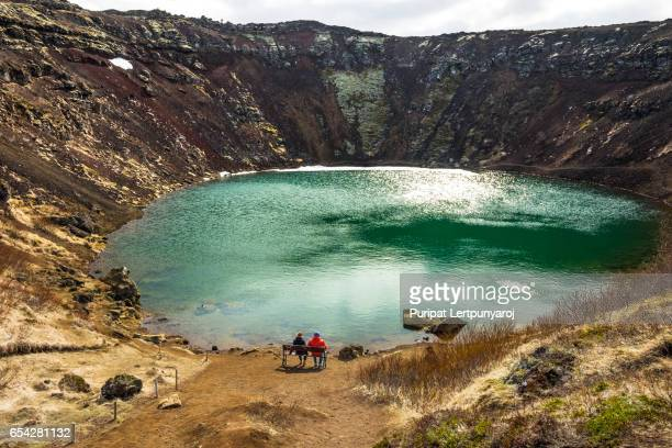 kerid crater - volcanic crater lake in golden circle, iceland - selfoss stock photos and pictures