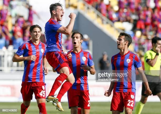 Kerim Avci of Altinordu celebrates his score during Turkish Football Federation 1st League match between Altinordu and Gaziantepspor at Bornova...