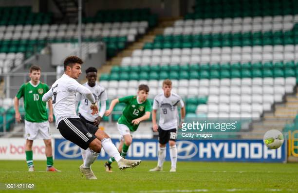 Kerim Calhanoglu of Germany scores his side's third goal during the U17 International Friendly match between Republic of Ireland and Germany at...