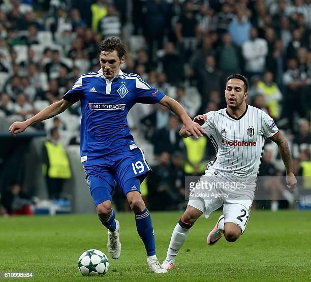 Kerim Frei of Besiktas in action against Denys Garmash of Dinamo Kiev during the UEFA Champions League football match between Besiktas and Dinamo...