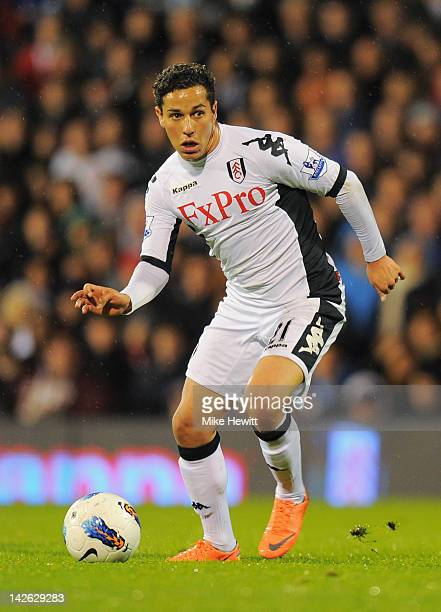 Kerim Frei of Fulham in action during the Barclays Premier League match between Fulham and Chelsea at Craven Cottage on April 9 2012 in London England