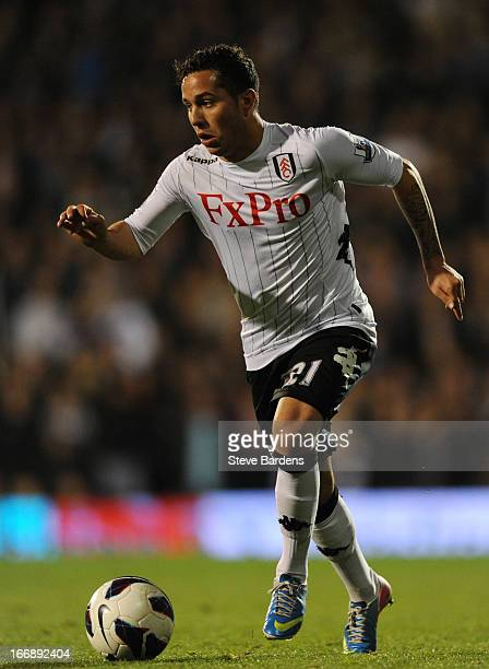 Kerim Frei of Fulham in action during the Barclays Premier League match between Fulham and Chelsea at Craven Cottage on April 17 2013 in London...